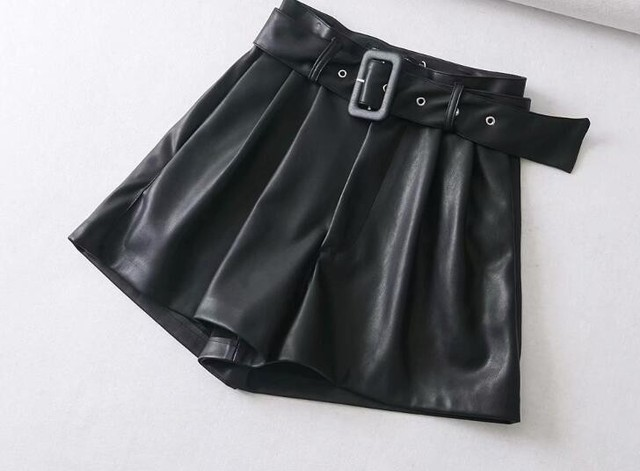 Black Orange Leather with Belt Wide Leg Faux Shorts High Quality Winter Shorts 2