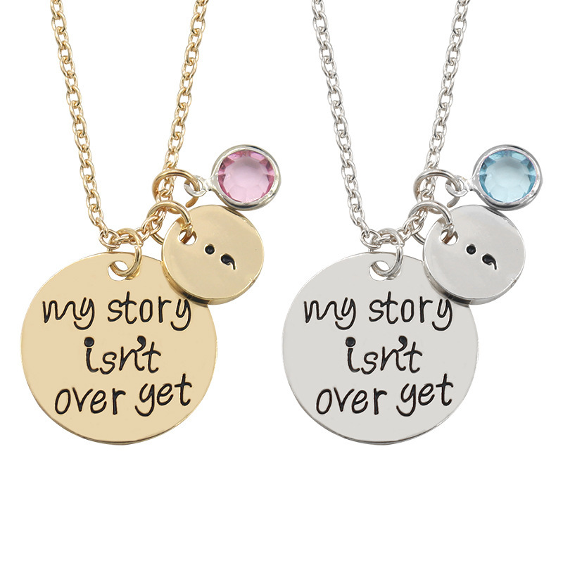 Fashion Letter My Story Isn't Over Yet Necklace Personality Student Blue Pink Crystal Inspirational Pendant Girl Gift Jewelry image