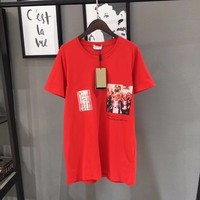 Summer Top Cotton 2019 Oil Painting Printing Cartoon Short Sleeve Red T Shirt Woman men lovers' Tshirt O neck T shirt Women