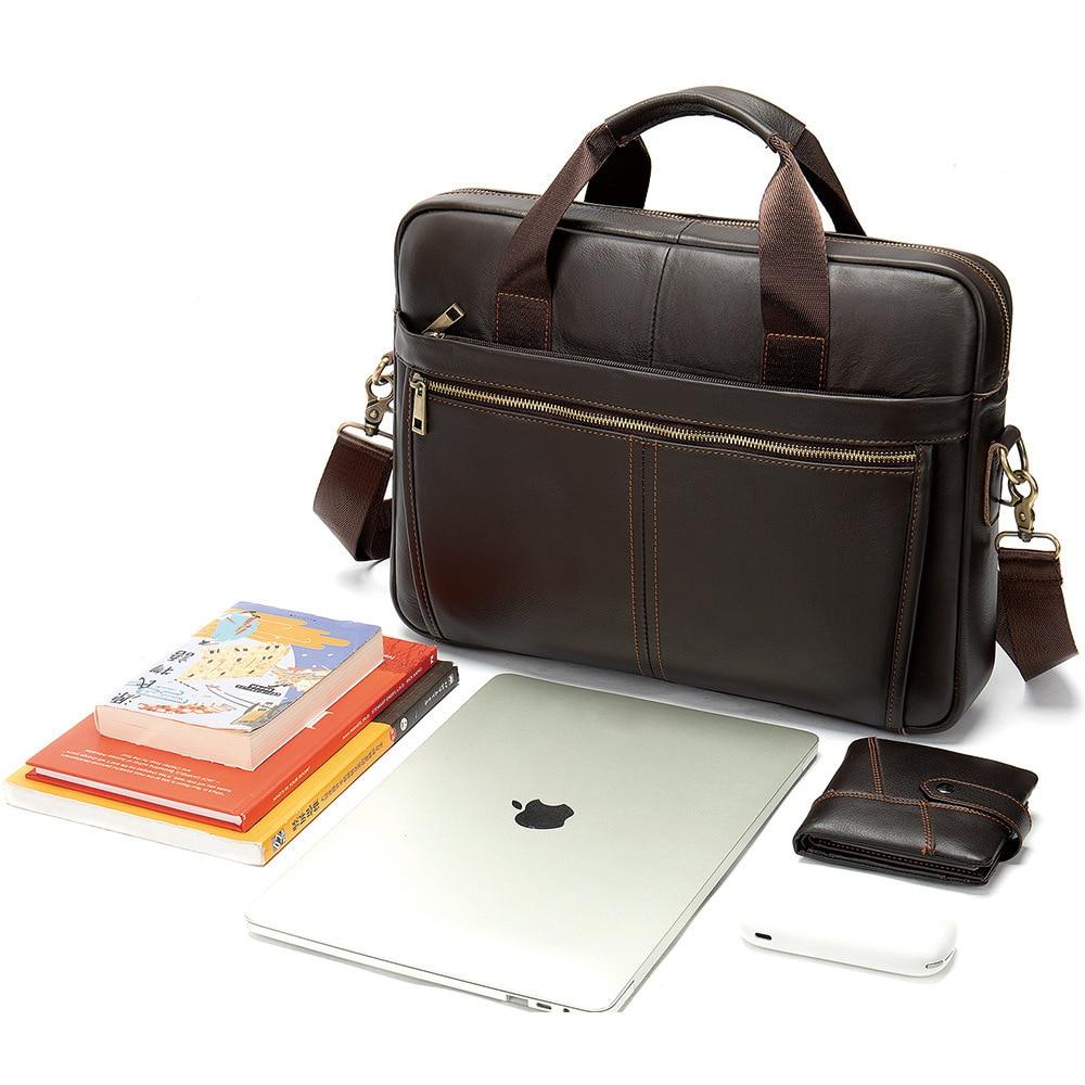 Men's Briefcase Computer-Bag Handbags Postman Business Vintage Genuine-Leather Fashion