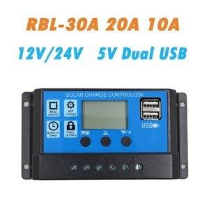 12V 24 V, 10A 20A 30A señal PWM automática pantalla LCD SolarController con salida USB Dual, regulador del colector de carga de la batería del Panel Solar