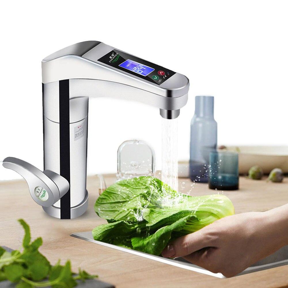 500-3500W grand écran tactile chauffe-eau électrique rotatif robinet d'eau robinet instantané chaud et froid pour salle de bains cuisine - 5