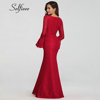 Long Sleeve Dress Women 2019 Elegant Mermaid O Neck Flare Sleeve Lace Party Dress New Design Long Bodycon Dress Red Gothic Dress 1