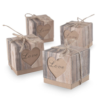 Kraft Vintage Boxes Brown Shabby Rustic Wrapping Gift Candy Boxes with Rope Wedding Favor Pack of 100