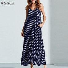 S-6XL de talla grande vestido de verano 2021 ZANZEA mujeres dibujo de lunares Cuello V sin mangas vestido Maxi largo Vintage de playa vestido