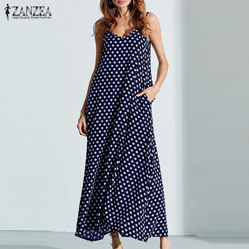6XL Plus Size Жазғы көйлек 2018 ZANZEA Women Polka Dot Print V Мойынға арналған жейдесіз Sundress Loose Maxi Long Beach Boho Vintage Dress
