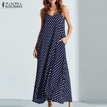 S-6XL Plus Size Summer Dress 2019 ZANZEA Women Polka Dot Print V Neck Sleeveless Sundress Loose Maxi Long Beach Vintage Dress