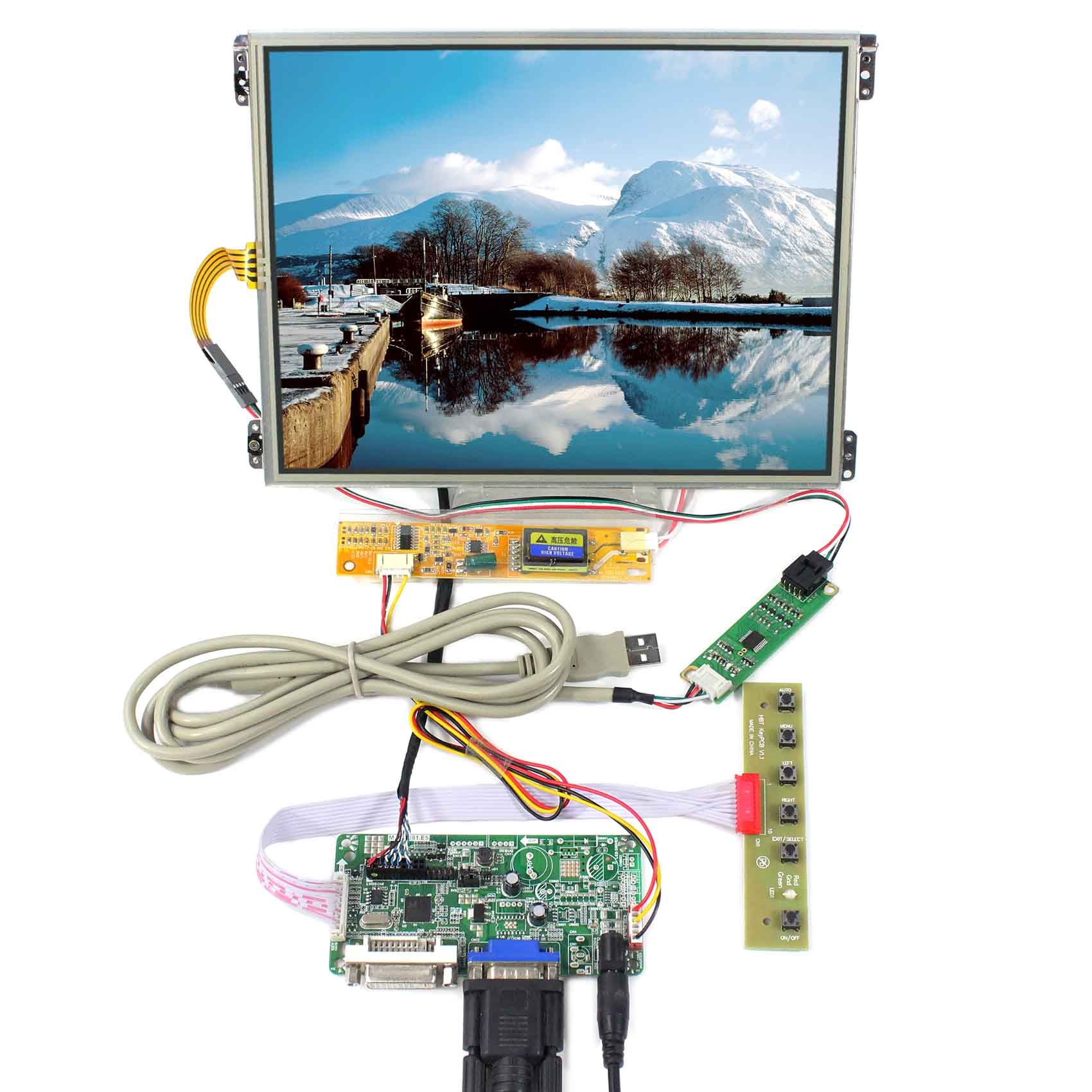10.4inch HT10X21-311 1024X768 IPS LCD Screen With Touch Panel VS104TP-A1 with VGA+DVI LCD Controller Board RT228110.4inch HT10X21-311 1024X768 IPS LCD Screen With Touch Panel VS104TP-A1 with VGA+DVI LCD Controller Board RT2281