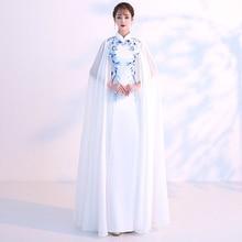 d43fc4c5c2 Deux sztuka Chinois suknie wieczorowe długi porcelany chiński sukienka  Cheongsam wzór kobieta moda Grace biały niebieski