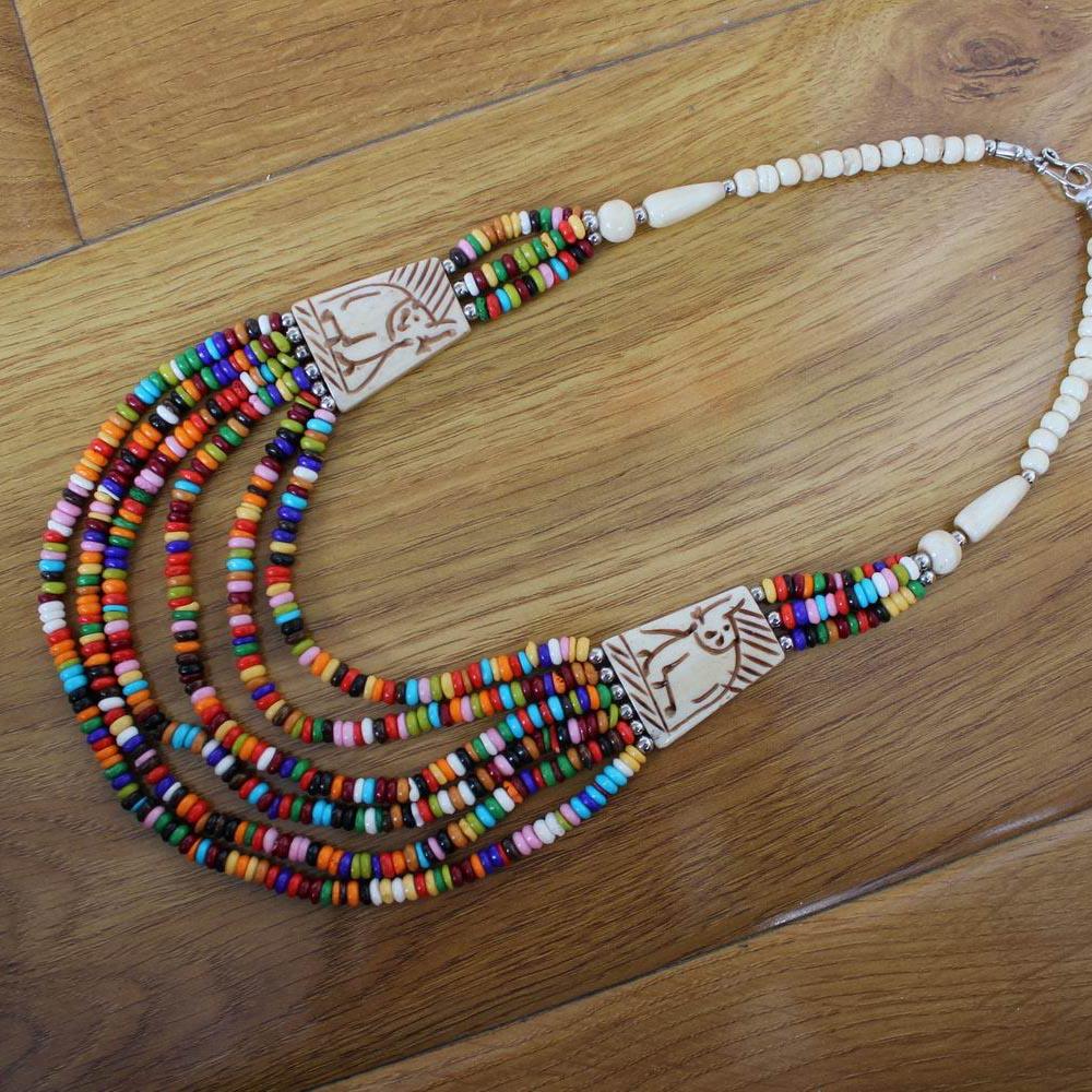 NK003 Bohemia Tibetan Necklace Colorful Yak Bone Beaded Rainbow Necklace Multi Strands Fashion Boho Necklaces Nepal Jewelry