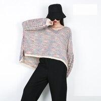 LANMREM 2018 Woman Autumn Striped Pullover Long Batwing Sleeve O neck Collar Irregular Knitting Sweater Female Loose Tops TA726