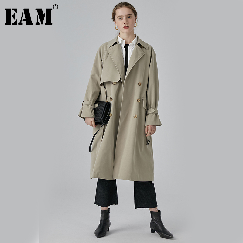[EAM] 2019 New Spring Summer Lapel Long Sleeve Gray Loose Double Breasted Big Size Long Windbreaker Women   Trench   Fashion JQ248