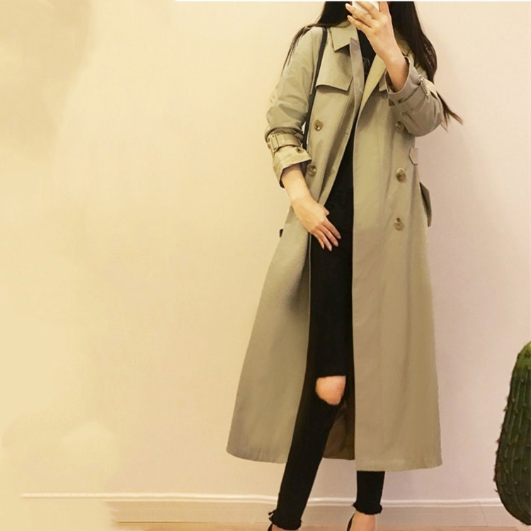 2019 New Spring Autumn Women Long   Trench   Oversize Double Breasted Washed Outwear Vintage Turn-Down Collar Loose Coat