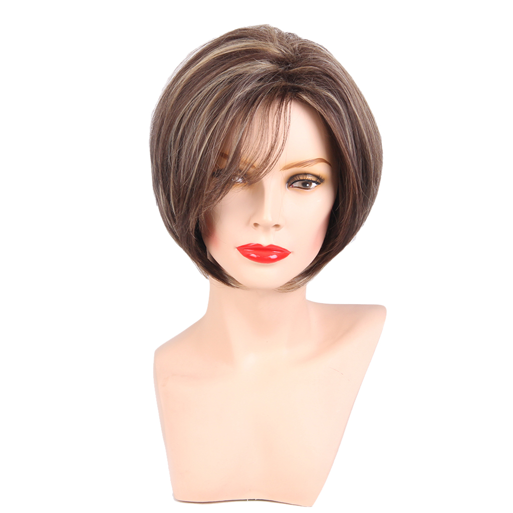 Fashion design 12 Women Short Natural Straight Layered 100 Human Hair Wigs with Cap Brown Hot