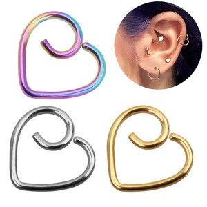 Coração em forma de falso tragus piercings aro helix cartilagem tragus daith orelha studs lábio nariz anéis piercing fino corpo jóias oreja