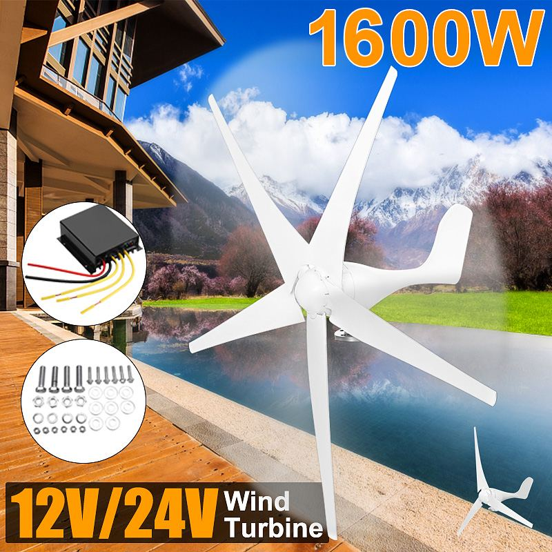 1600W 12V 24 Volt 3/5 Nylon Fiber Blade Horizontal Home Wind for Turbine Wind Generator Power Windmill Energy for Turbine Charge1600W 12V 24 Volt 3/5 Nylon Fiber Blade Horizontal Home Wind for Turbine Wind Generator Power Windmill Energy for Turbine Charge