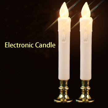 2Pcs/set Electric Flameless Led Candle Lights With Removable Gold Bases Environmental Long Candle Lamp Wedding Birthday Party
