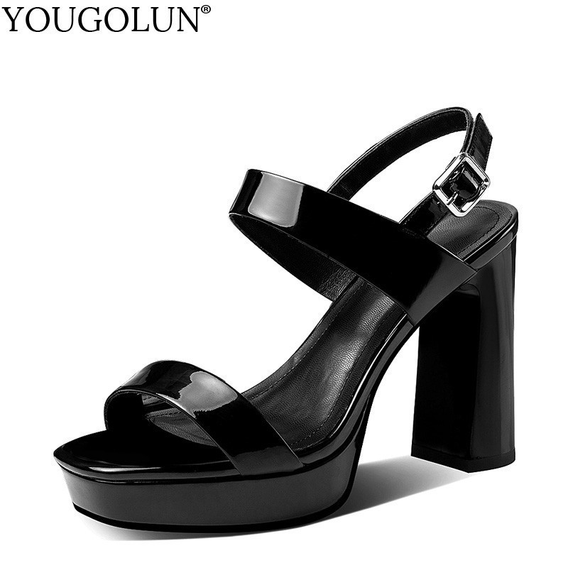 Patent Leather High Heel Sandals Women Summer T Strap Ladies Hoof Heels Sandal A215 Woman Buckle