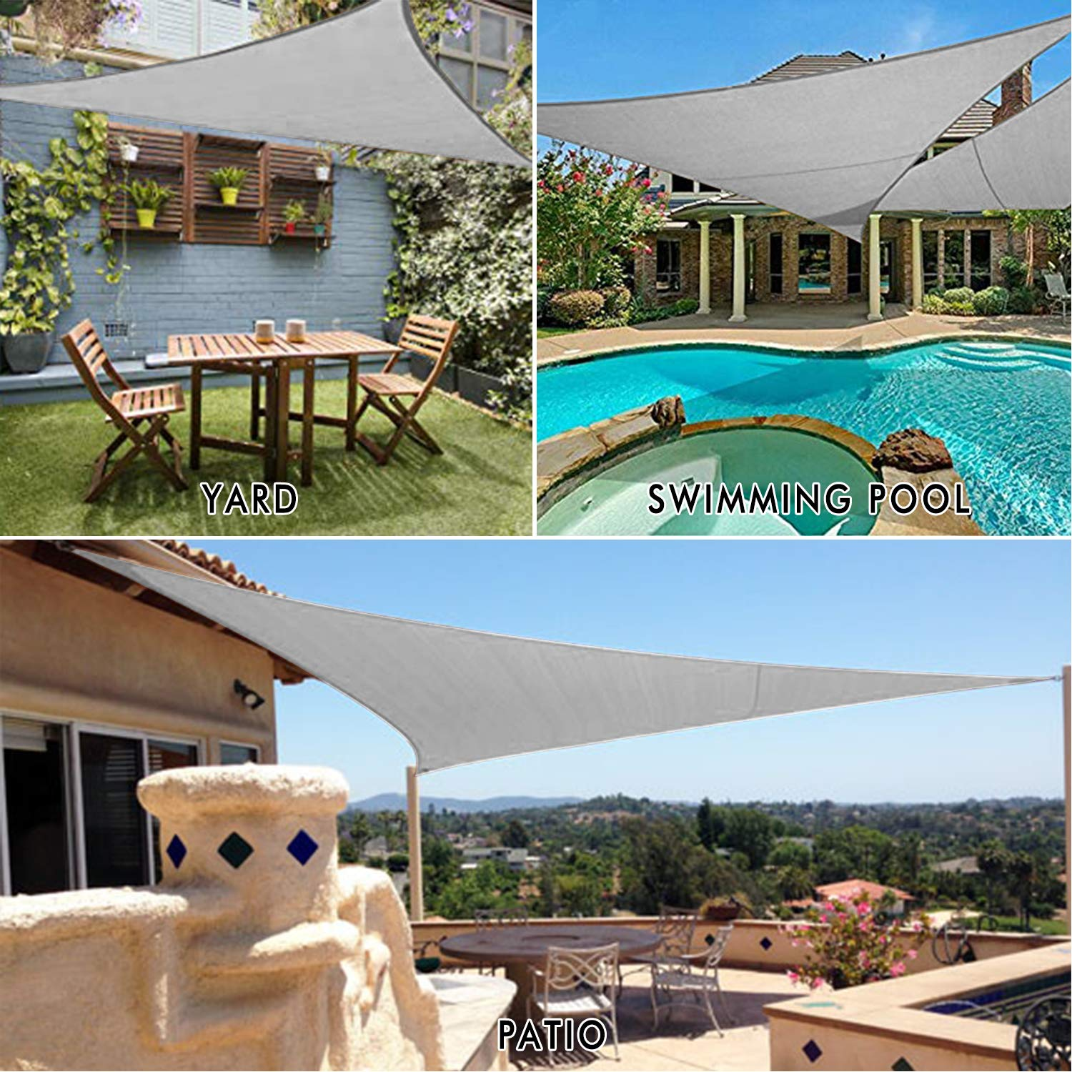 Image 3 - 6*6*6 Size Outdoor Shade Sunscreen Waterproof Triangular UV Sun Shade Sail Combination Net Triangle Sun Sail Tent Camping Garden-in Sun Shelter from Sports & Entertainment