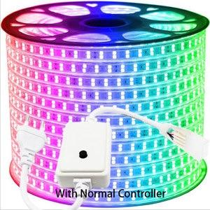 Image 2 - 31 50M dwurzędowe listwy RGB LED 96 leds/m 5050 220V zmienia kolor taśma oświetlająca IP67 wodoodporny sznur oświetleniowy LED + sterowanie Bluetooth na podczerwień