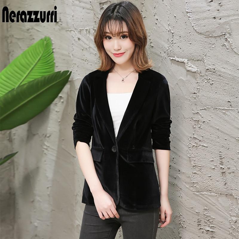 Nerazzurri Ladies Blazers Fashionable Work Wear Jacket Elegant Plus Size Slim Red Black Women Blazers And Jackets Velvet Blazer