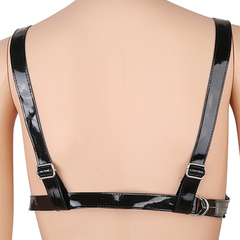 Women's PU Leather Body Harness Open Bust Leather Straps With Metal Chains Bra And Thong Bikini Set Fetish Erotic Lingerie
