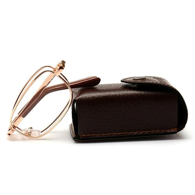 Old Man Metal Frame Resin Lens Reading Glasses women men Folding Glasses with Case +1.00 1.50 2.00 2.50 3.00 3.50 4.00