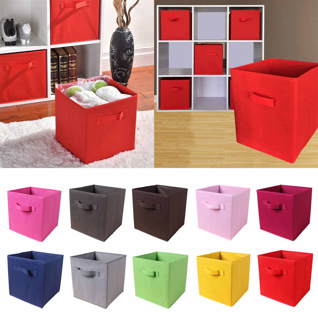 Foldable Storage Cubes Basket Dual Handles Cube Storage Box
