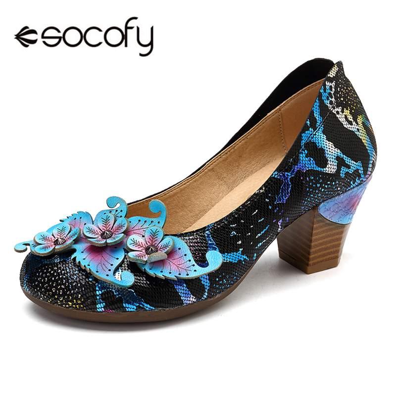 Socofy Vintage Slip-on Basic Pumps Women Shoes Woman Spring Autumn Genuine Leather Retro High Heels Ladies Shoes Block Heeled