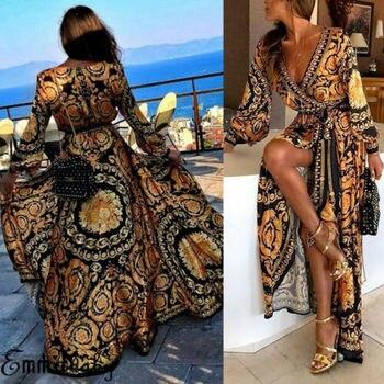 32a1a8cd5 De las mujeres de la moda Floral Maxi largo vestido noche vestido de fiesta  vestidos verano