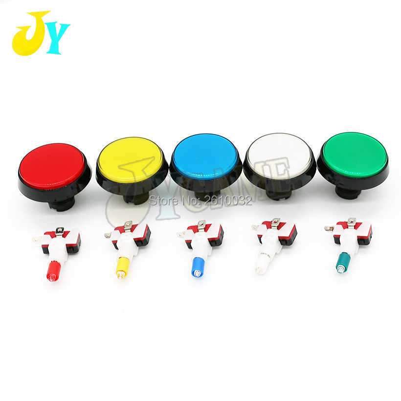 1pcs 60mm Round LED Light Arcade Button 12V Illuminated push button with LED blub microswitch Large game machine accessories