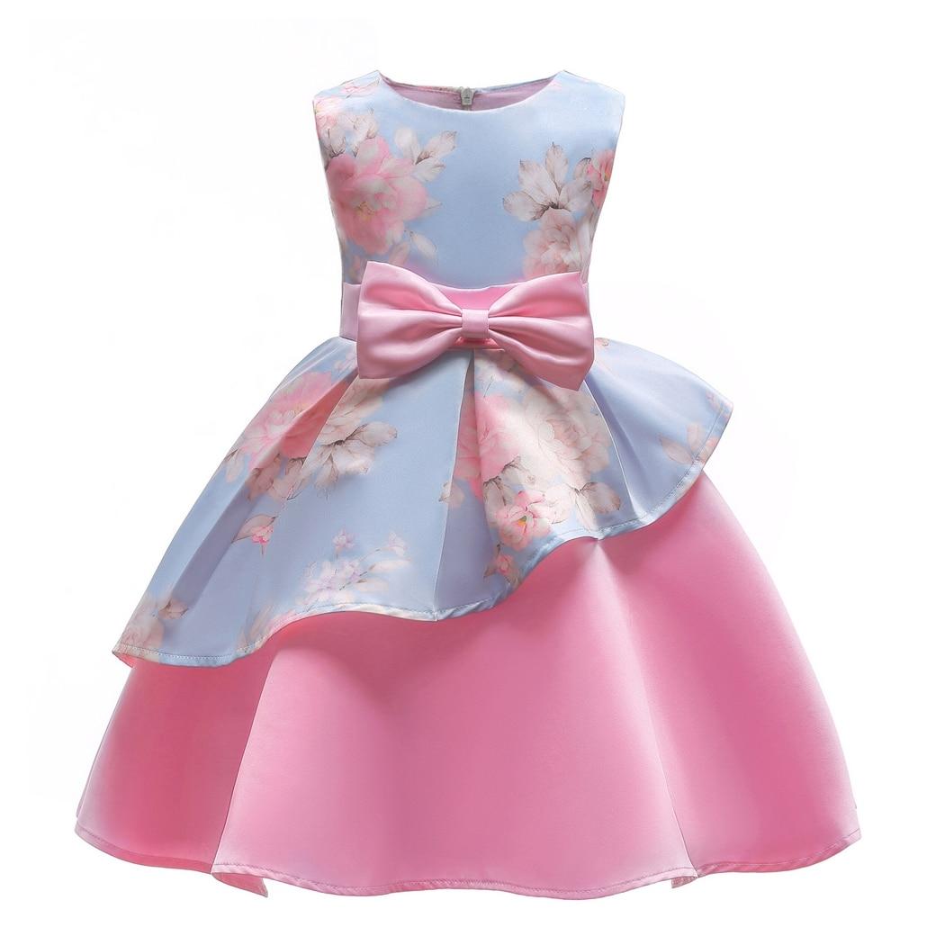 AmzBarley Flower Girls Dresses Sleeveless Bow Kids Princess Floral Print Birthday Wedding Party Prom Gown