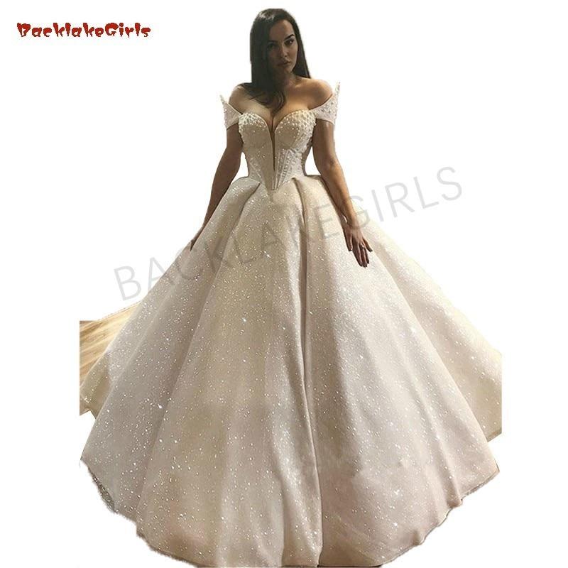 Luxury Full Pearls Wedding Dress Long Sleeves Ball Gown 2019 Wedding Dresses