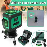 ZEAST 360 Horizontal Vertical Cross 12 Lines + 1mm 3D Green Auto Laser Level Build Tool Waterproof Plumb point Wavelength 532nm