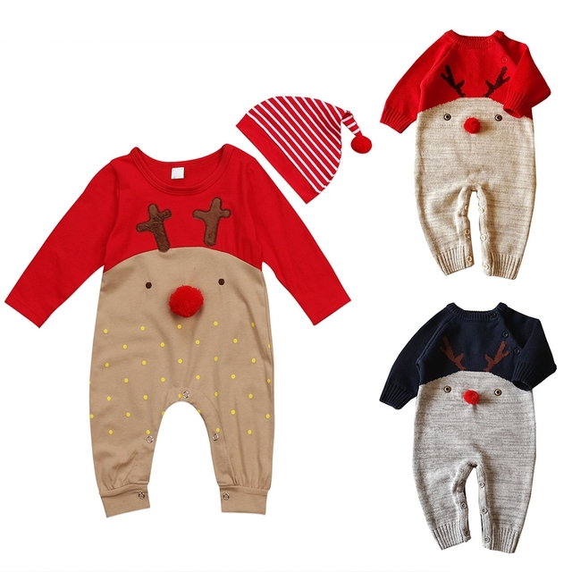 Christmas Jumpsuit Baby.Newborn Romper Infant Baby Girl Boy Clothes Cute Deer Romper Christmas Jumpsuit Playsuit Autumn Winter Warm Bebes Rompers In Rompers From Mother