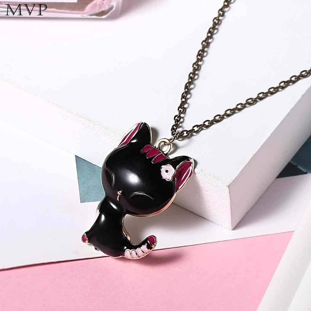 Женская мода прекрасный мультфильм животное кулон повседневный розовый цветок 70 см звено кошка шаблон ожерелье свитер цепь