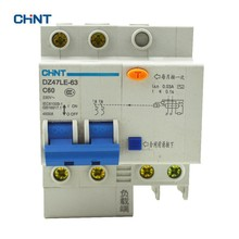 цена на CHINT 60A Low Voltage Residual Current Circuit Breaker DZ47LE-63 C60 2P Earth Leakage Circuit Breaker Home Air Switch