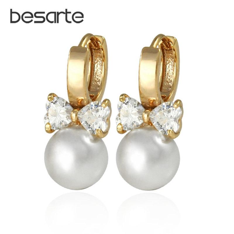 Biseri kristalni cirkon zlato barvni uhani za ženske Bižuks Aros Brincos Ouro Bižuterija uhani modni nakit E0310
