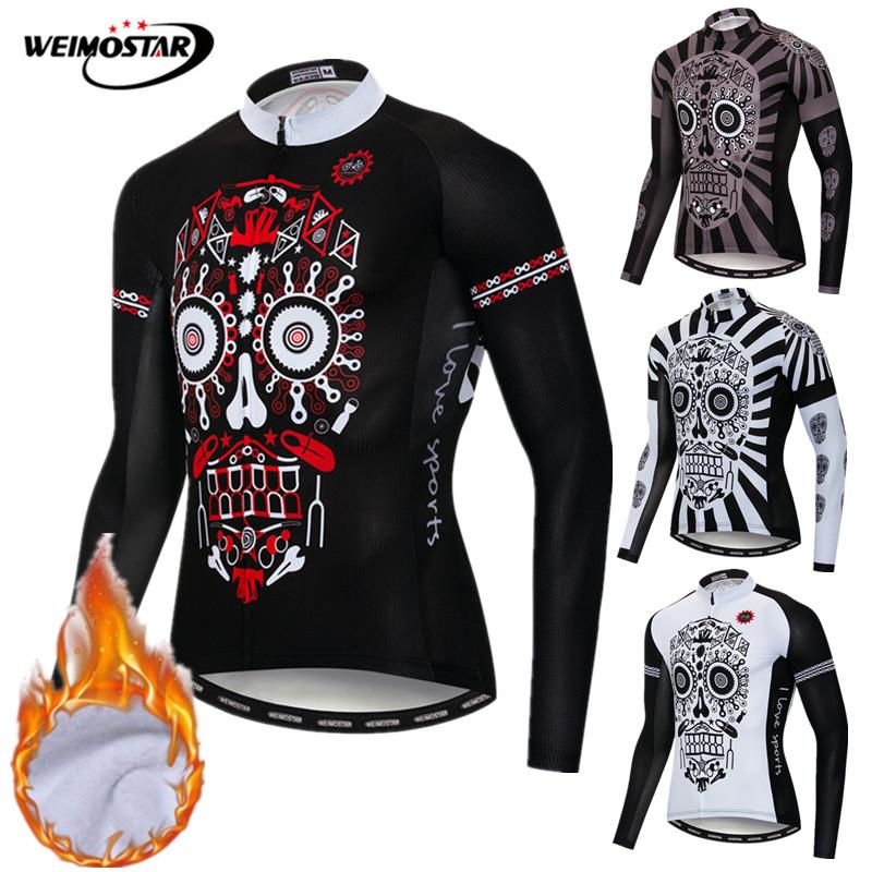 Winter Cycling Jersey 2019 Pro Team Thermal Fleece Skull Mountain Bike Clothing Maillot Ciclismo Invierno Warm
