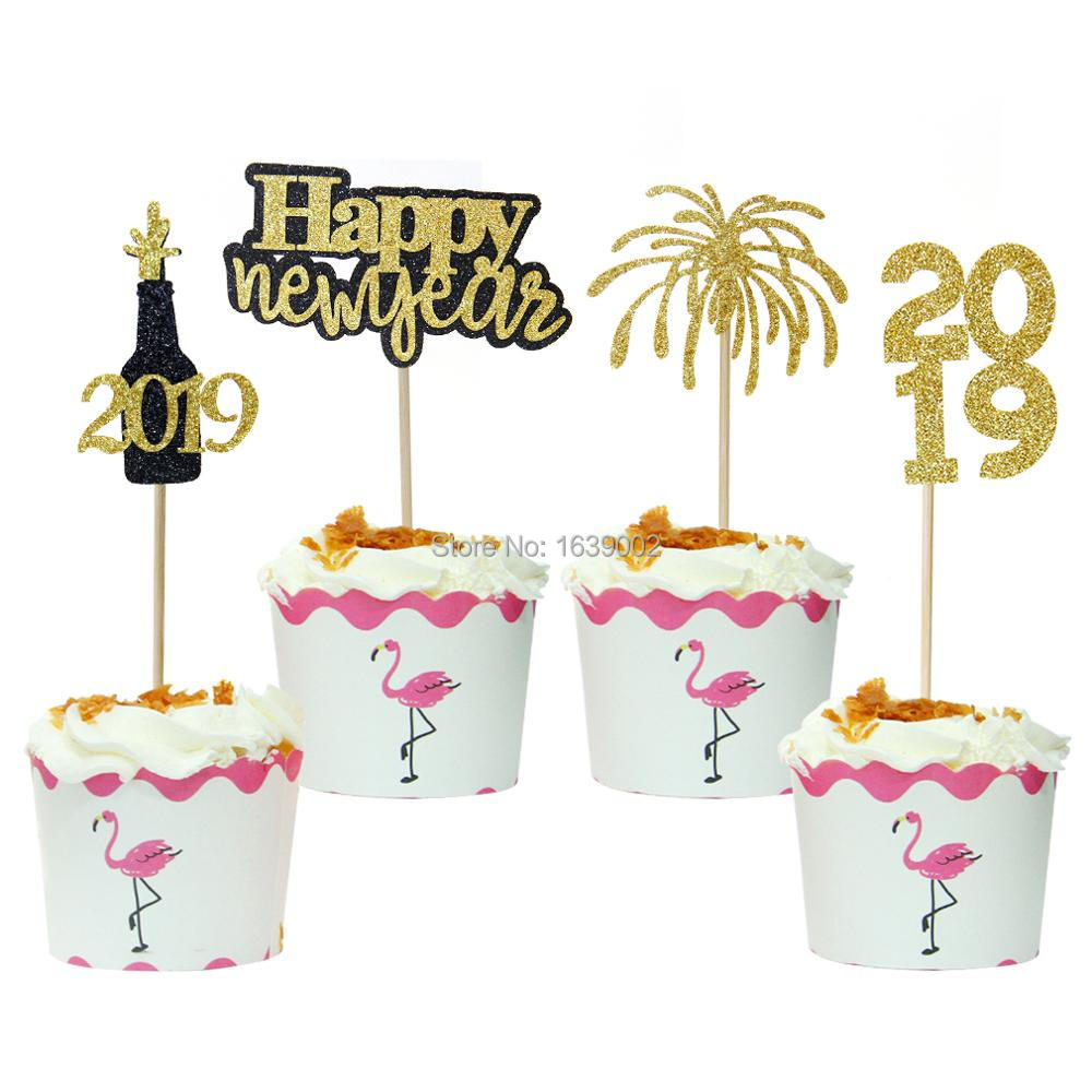 Gold Glitter New Year Firework Cupcake Toppers Happy New ...