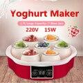 220 v máquina automática elétrica do fabricante de iogurte com temporizador 7 frascos de vidro inteligente automático touchs tela iogurte diy ferramenta recipiente