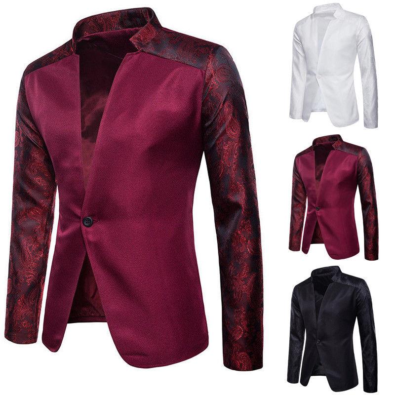 Men Fashion Embroidery Suit Coat Regular Serge Blazer One Button Lapels Business & Casual Jacket