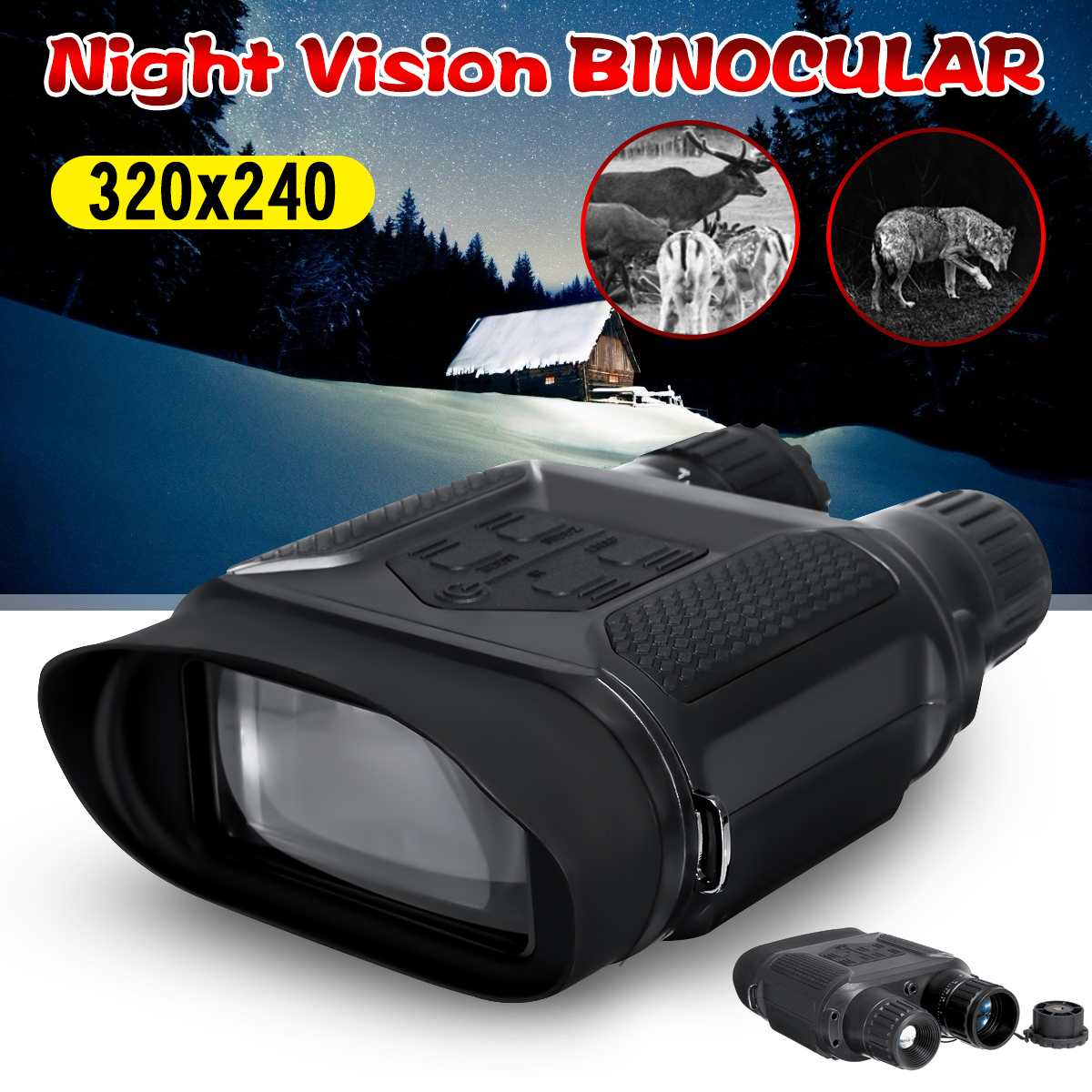 Night Vision Binocular Digital Infrared Night Vision Scope 1300ft/400m Observing Distance Photo Camera & Video Recorder