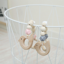 INS Nordic Style Wooden Beads Ornament Kids Toys For Baby Elephant bird Shaped Wood Room Nursery Tent Hanging Decor Photo Props