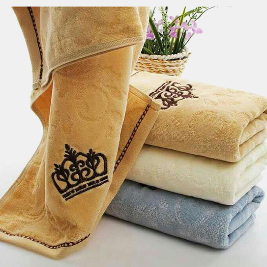Casual Towel Hair Bath Towel Face Blue Crown Beige Soft Rectangle Coffee Pattern Cotton Print Drying Unisex Absorbent