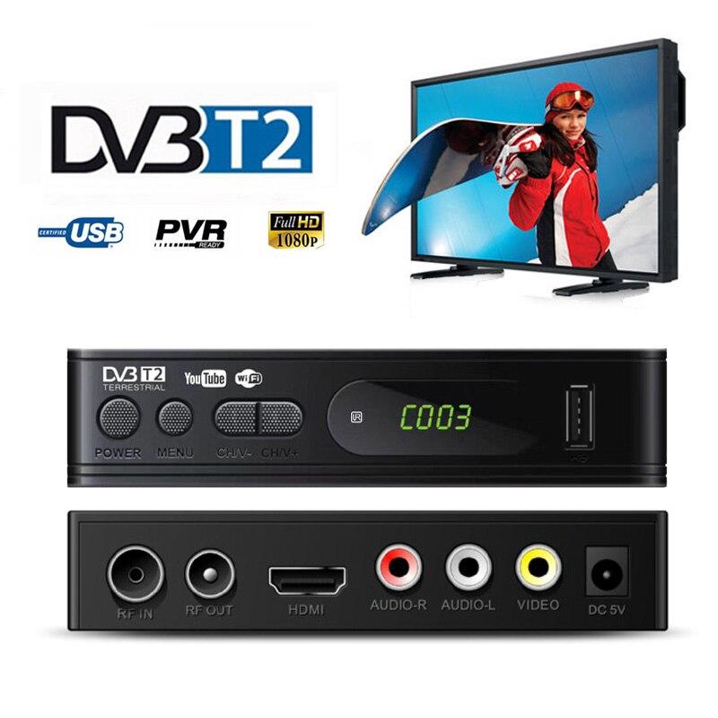 Sintonizador de TV DVB Sintonizador de TV Box HDMI 1080 P HD DVB-T2 T2 USB2.0 Receptor de Satélite Decodificador Embutido Russo Manual Para monitor de Adaptador