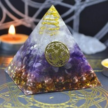 Natural Amethyst Orgonite Pyramid Energy Converter Orgone Aura Chakra Resin Decorative Craft Decoration Bring Good Luck Gift