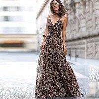 DeRuiLaDy 2019 Sexy Women Summer Spaghetti Strap Long Dress V Neck Leopard Print Maxi Dresses Casual Sundress Vestidos