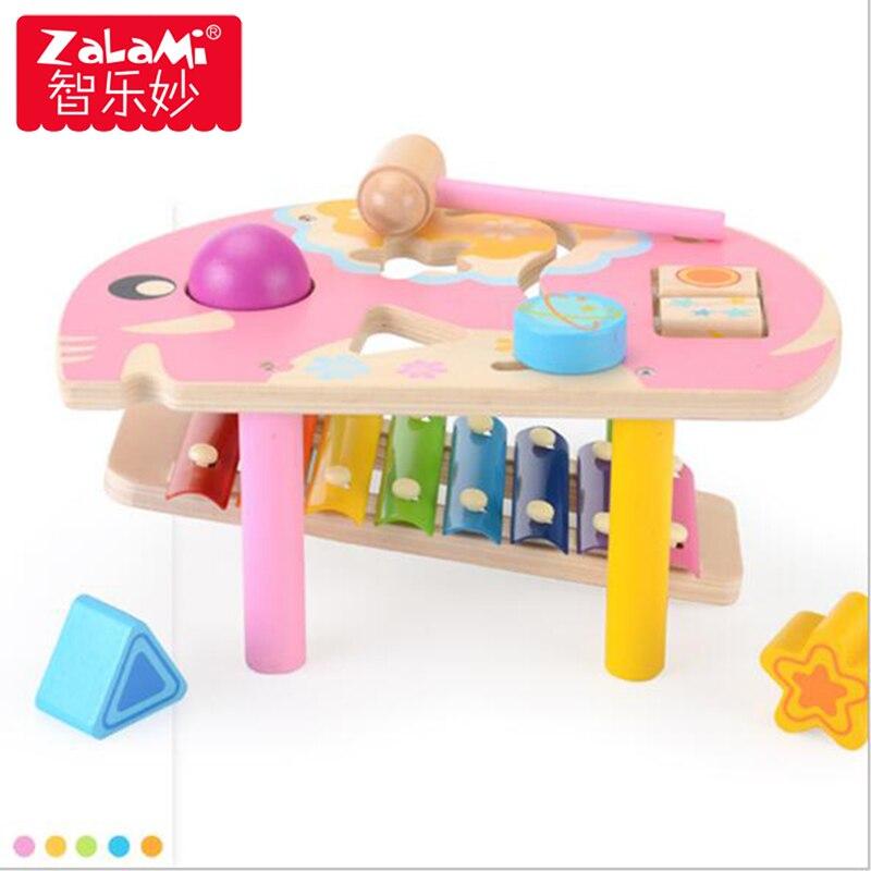 Mini main en bois frapper huit tons Piano jouet Musical éducatif coloré lapin/éléphant tige percussions Piano musique jouet pour cadeau