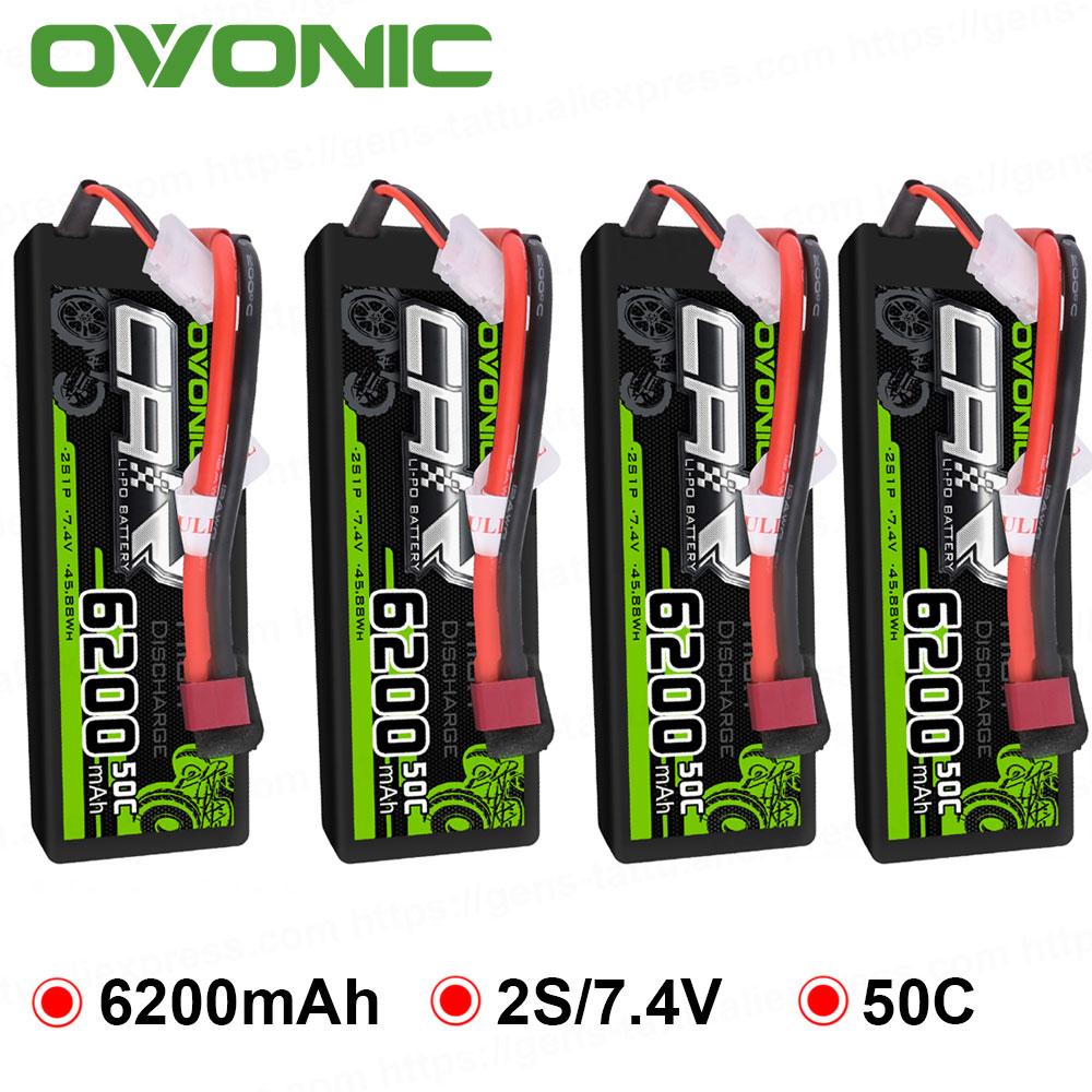 Ovonic RC Car Battery 6200mAh 7.4V LiPo 2S 50C Max 100C Battery Pack Hardcase for 1:8 1:10 Size Bandit Emaxx Slash HPI RC Car